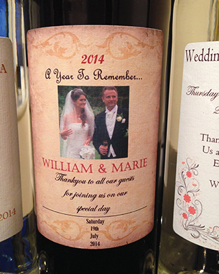 Popular Wines With Personalised Custom Designed Labels For Weddings